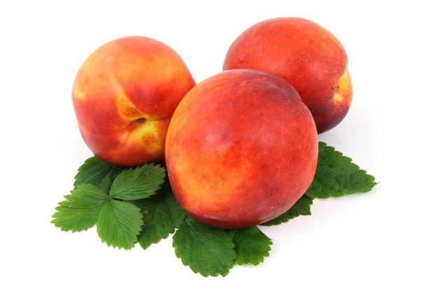 Fruit Nectarine Leaf Fresh Isolated Organic Food